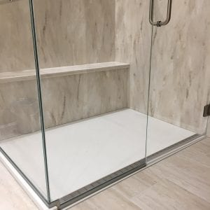 Encompass Shower Bases- Glass ledge Curbless Shower
